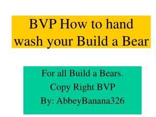 BVP How to hand wash your Build a Bear