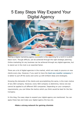5 Easy Steps Way Expand Your Digital Agency