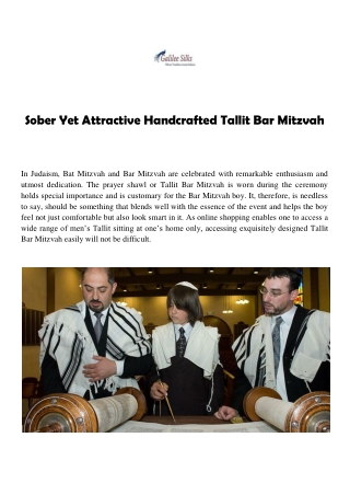 Sober Yet Attractive Handcrafted Tallit Bar Mitzvah