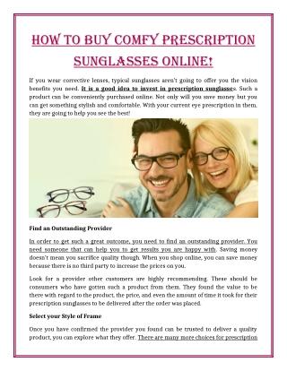 How to Buy comfy Prescription Sunglasses Online!