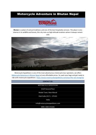 Motorcycle Adventure in Bhutan Nepal