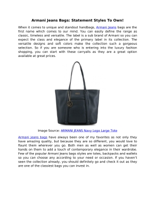 Armani Jeans Bags: Statement Styles To Own!