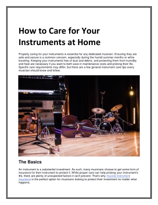 How to Care for Your Instruments at Home