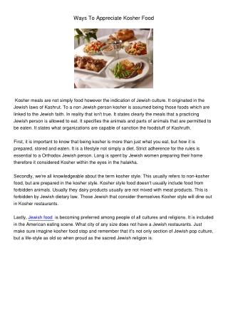 Ways To Appreciate Kosher Food