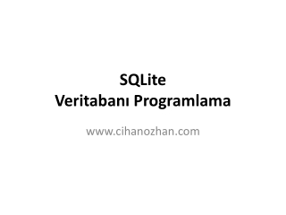 SQLite Veritabanı Programlama