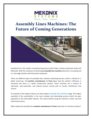 Assembly Lines Machines: The Future of Coming Generations