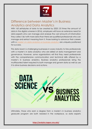 Difference between Master's in Business Analytics and Data Analytics
