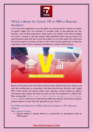 Which is Better for Career: MS or MBA in Business Analytics?