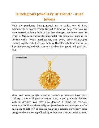 Is Religious Jewellery In Trend - Aura Jewels
