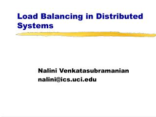 Load Balancing in Distributed Systems