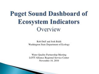 Puget Sound Dashboard of Ecosystem Indicators Overview
