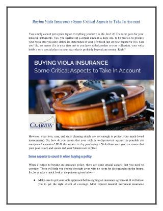 Buying Viola Insurance - Some Critical Aspects to Take In Account