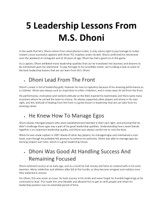 5 Leadership Lessons From M.S. Dhoni