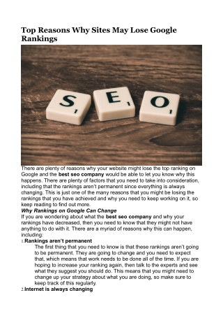 Top Reasons Why Sites May Lose Google Rankings