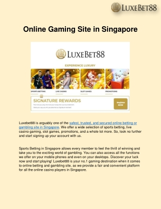 Online Gaming Site in Singapore - LuxeBet88