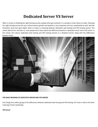 Dedicated Server VS Server