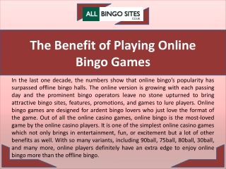 The Benefit of Playing Online Bingo Games