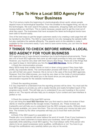 7 Tips To Hire a Local SEO Agency For Your Business