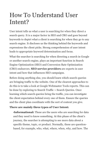 How To Understand User Intent?