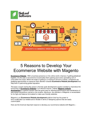 5 Reasons to Develop Your Ecommerce Website with Magento