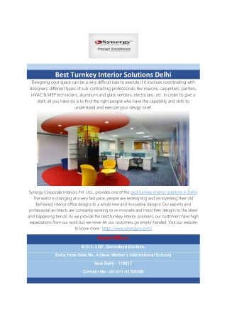 Best Turnkey Interior Solutions Delhi