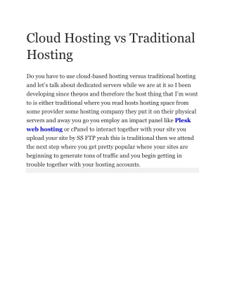 Cloud Hosting vs Traditional Hosting