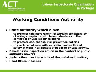 Labour Inspectorate Organisation  in Portugal