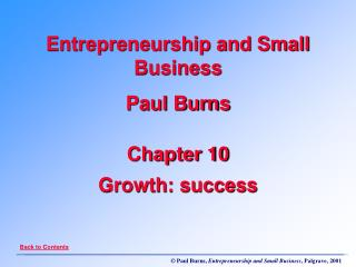 Chapter 10 Growth: success