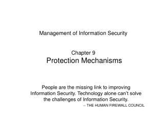 Management of Information Security Chapter 9 Protection Mechanisms