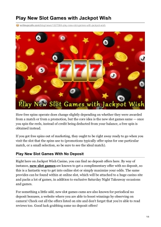 Play New Slot Games with Jackpot Wish