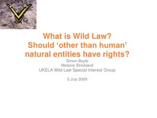 What is Wild Law Should  other than human  natural entities have rights Simon Boyle  Melanie Strickland UKELA Wild Law S