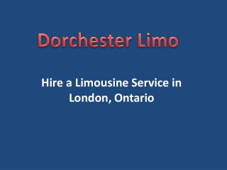Hire a Limousine Service in London, Ontario