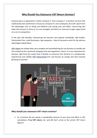 Why Should Small Businesses Outsource VAT Return Services?