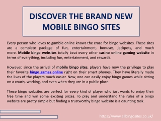 DISCOVER THE BRAND NEW MOBILE BINGO SITES