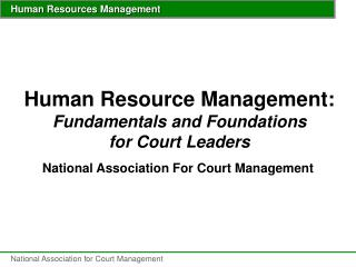 Human Resource Management: Fundamentals and Foundations for Court Leaders