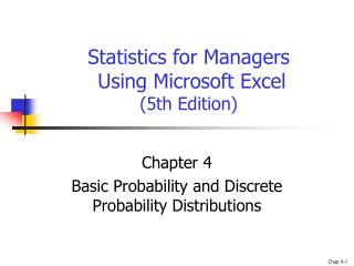Statistics for Managers  Using Microsoft Excel  (5th Edition)