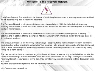 Welcome To The Recovery Network