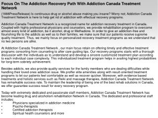 Focus On The Addiction Recovery Path With Addiction Canada T