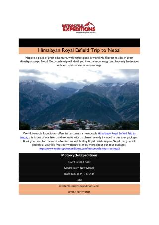 Himalayan Royal Enfield Trip