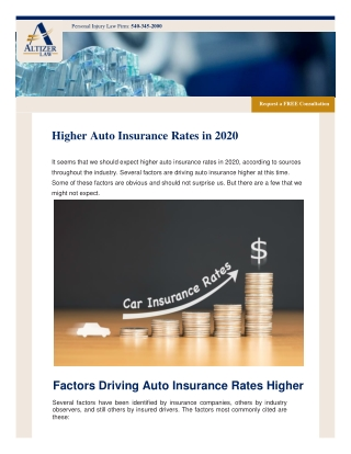Higher Auto Insurance Rates in 2020
