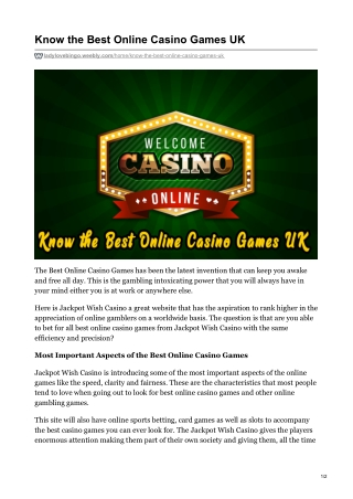 KNOW THE BEST ONLINE CASINO GAMES UK