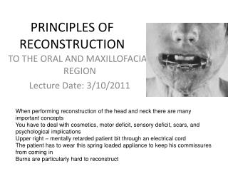 PRINCIPLES OF RECONSTRUCTION