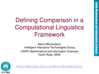 Defining Comparison in a Computational Linguistics Framework