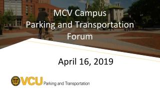 MCV Campus Parking and Transportation Forum