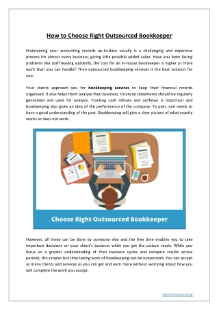 How to Choose Right Outsourced Bookkeeper?