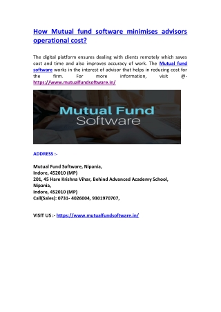 How Mutual fund software minimises advisors operational cost?