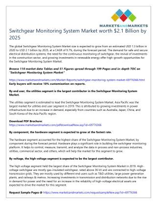 Switchgear Monitoring System Market worth $2.1 Billion by 2025