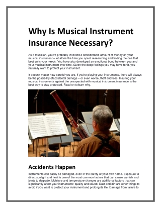 Why Is Musical Instrument Insurance Necessary?