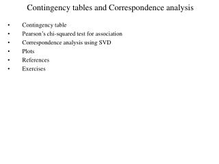 Contingency tables and Correspondence analysis