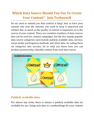 Which Data Source Should You Use To Create Your Content - Jain Technosoft